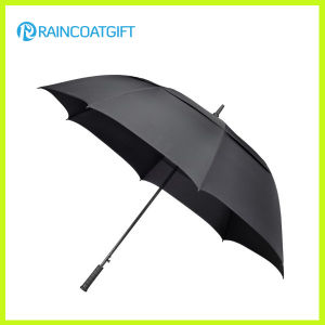 30 Inches Single Layer Fiberglass Frame Black Long Golf Umbrella pictures & photos