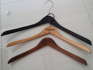 Antique White Wooden Custom Top Hanger Bend Wooden Clothes Hanger Hangers for Jeans pictures & photos