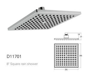 8-Inch Square Stainless Steel Shower Head with Trp Nozzles