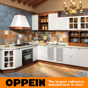 Nordic Rural Style Oppein L-Shape PP Kitchen Furniture (OP14-044) pictures & photos