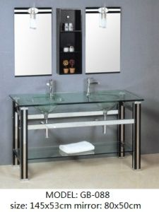 Double Glass Basin Furniture with Silver Mirror pictures & photos