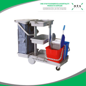 Multifunctional Resthotel Restaurant Office Janitor Cart, Cleaning Trolley, Cleaning Service Cart pictures & photos