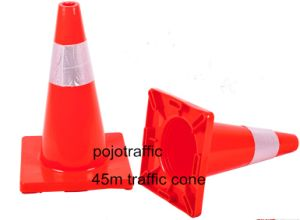45cm Orange Black Base Reflective PVC Traffic Road Safety Cone Pjtc102