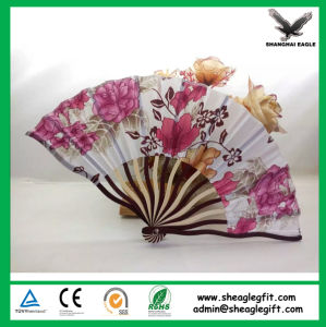 Shell-Haped Fabric Bamboo Hand Fan for Lady pictures & photos
