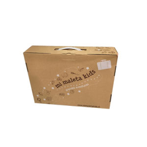 Printed Corrugated Cardboard Carrying Suitcase Box with PVC Plastic Handle pictures & photos