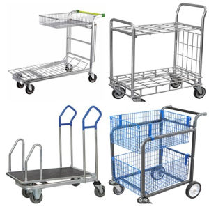 Double Tiers Warehouse Cargo Transport Trolley pictures & photos