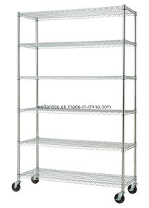 Rolling Heavy Duty 6 Shelf Adjustable Chrome Finish Commercial Wire Shelving Unit with Wheels pictures & photos
