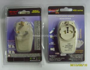 UK, Iraq Grounded Plug Adapter With USB Charger (wasdbgfuvs-7)