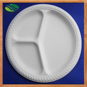 10inch Cornstarch Plate 3-Sections Biodegradable Plate pictures & photos