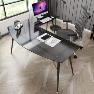 Home Furniture L-Shaped Corner Glass Computer Desk pictures & photos