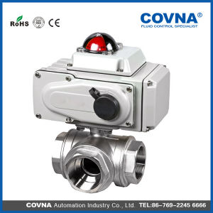 DC24V 12V Stainless Steel 3 Way Electric Actuator Ball Valve pictures & photos
