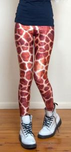 Sexy Stylish Animal Printed Pants and Funky Leggings Stretchy Polyster Brown Color Giraffe Skin Printed Leggings and Pants