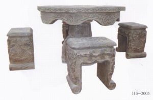 Antique Stone Art Table Stool Set (HS2005) pictures & photos