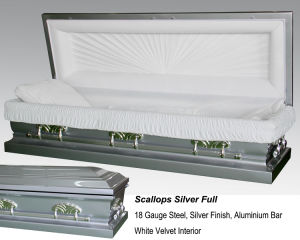 Scallops Silver Full Couch Casket