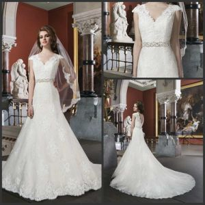 V-Neck Court Train Lace Cap Sleeve Tulle Bridal Wedding Dresses Wdo91 pictures & photos