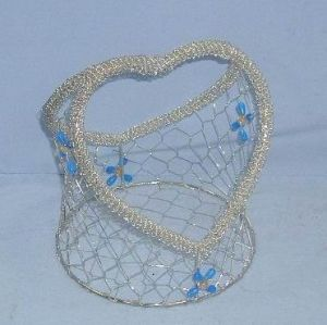 Plated Silver Wire Baskets in Heart Shape for Gifts (SMD-8331)
