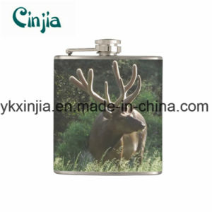 Elk Bull in Summer Velvet Vinyl Wrapped Hip Flask Xjt5 pictures & photos