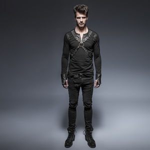T-423 Punk Lacing Shoulder Leather Belts Long Sleeve Man Shirts pictures & photos