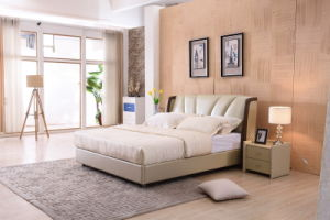 Modern Design Foshan Home Furniture Cheap Double Leather Soft Bed pictures & photos