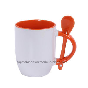 DIY Creative Gift Color Coated Ceramic Sublimation Spoon Mug pictures & photos