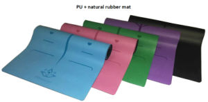 Blue PU and Natural Rubber Yoga Mat with Laser Etch Alignment and Brand Logo pictures & photos