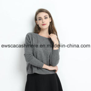 Grey Color Lady Pure Cashmere Round Neck Sweater