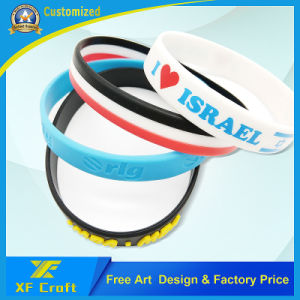 Wholesale Customized Embossed Logo Segment Rubber Silicone ID Bracelets (XF-WB17) pictures & photos