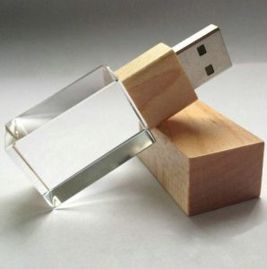 Wooden Environmental Crystal USB Flash Drive Can Be Customized Logo pictures & photos