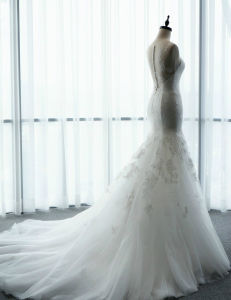 New Style Trumpet Sleeveless Lace Curve Sweetheart Bridal Wedding Dress Gown pictures & photos