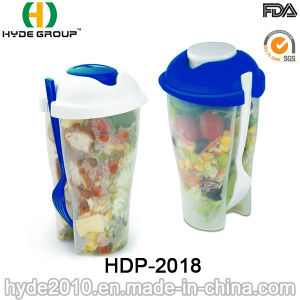 BPA Free Plastic Salad Shaker Cup with Fork (HDP-2018) pictures & photos