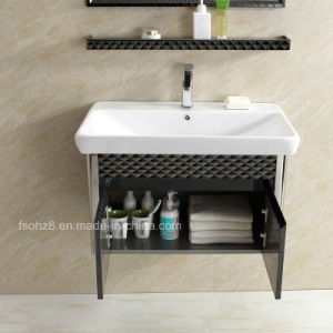 Elegant Black Stainless Steel Bathroom Vanity for Wall pictures & photos