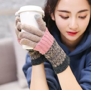 Winter Warm Women Thick Touch Screen Wool Gloves Long Sleeves Gloves Dule-Use pictures & photos