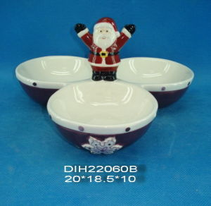 Antique Hand-Painted Ceramic 3 Candy Bowls with Santa Handle pictures & photos