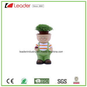 Polyresin New Lovely Girl Figurine with Flowerpots for Garden Decoration pictures & photos