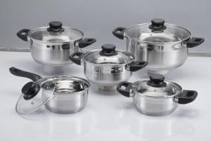 10-Piece Stainless Steel Kitchenware /Cookware Set with Glass Lid pictures & photos