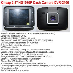 """Cheapest HD1080p Car Digital Recorder Camera with 2.4"""" HD TFT Display; HDMI out; AV-out; Night Vision, 4G Lens, 120 Degree View Angle, Car DVR-2406 pictures & photos"""