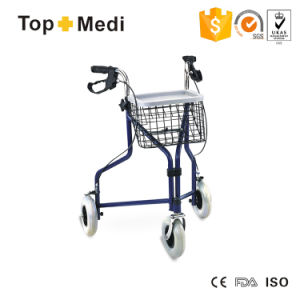 Topmedi Medical Equipment Three Wheel Aluminum Rollator with Shopping Basket pictures & photos