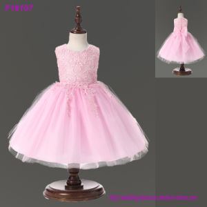 Spring Flower Girl Dresses Vintage Jewel Sash Lace Net Baby Girl Birthday Party Christmas Princess Dresses Party Dresses pictures & photos
