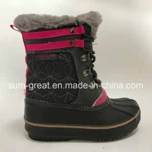 Warm Fashion Kids and Women Black Cotton Boots with Top Quality pictures & photos