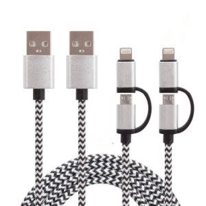 2 in 1  Nylon Insulated Charging and Sync USB Cable for iPhone, Samsung Phone pictures & photos