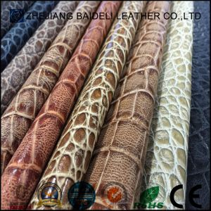 Embossed Printting Crocodile PVC PU Leather for Lady Handbag, Sofa and Furniture Upholstery pictures & photos