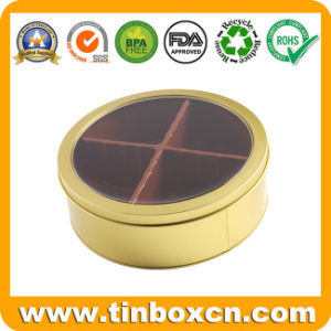 Round Window Tin Can for Food Chocolate Candy Snacks Biscuits Cookies pictures & photos
