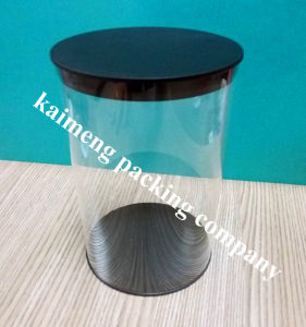 Transparency Pet Damask Plastic Cylinder with Black Caps pictures & photos