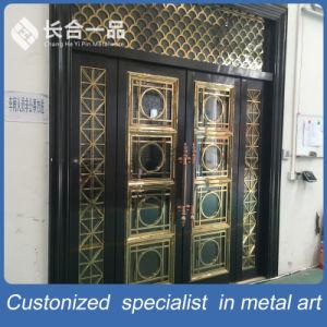 Customized Black Titanium and Golden Coasted Steel Metal Front Door pictures & photos