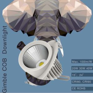 100lm/W CRI80 CRI90 20W 30W 40W Gimble COB LED Downlight with 130mm Cut out pictures & photos