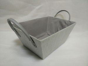 Paperloom Single Tapered Basket with Faux Leather Handle Grey
