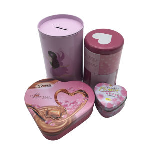 Baby Girl Gift Custom Pink Color Tin Can Chocolate Box Coin Box Wholesale pictures & photos