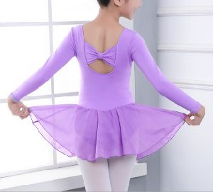 Lilac Long Sleeve Dance Leotard with Chiffon Skirts for Child pictures & photos