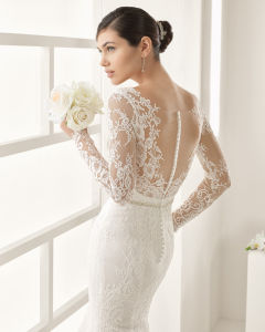 Ultra-Romantic and Gorgeously Feminine Mermaid Bridal Gown with Intricate Chantilly Lace Overlay, Guipure Lace, The Most Delicate Eyelash Hem Lace Combined and pictures & photos