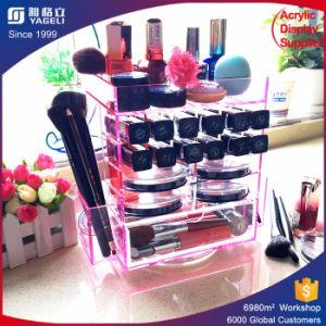 Pink White Clear 360 Rotating Acrylic Makeup Lipstick Organizer pictures & photos